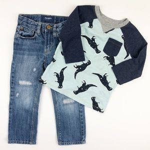 Old Navy 3T Jeans & Dinosaur Shirt Bundle
